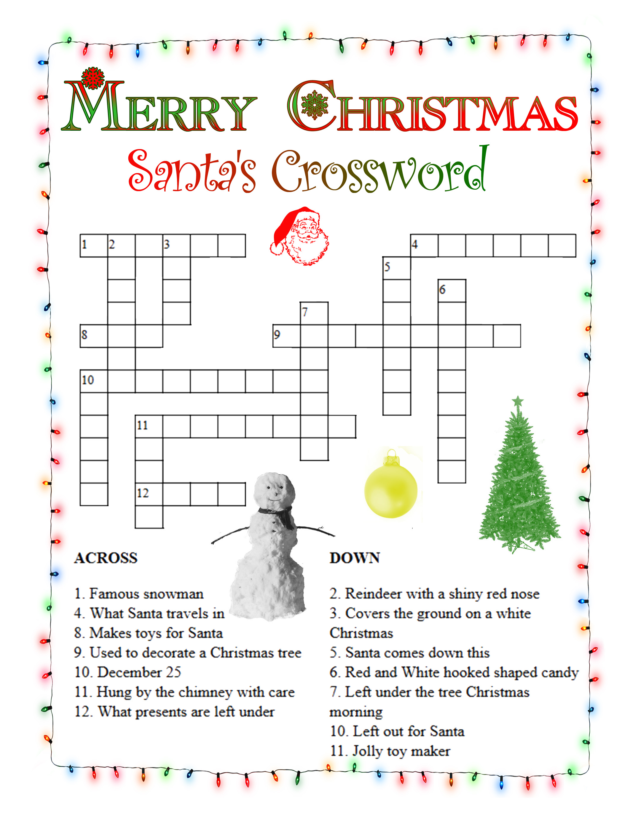 Selective image with regard to christmas crossword puzzles printable